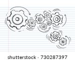 doodle icon of gears.... | Shutterstock .eps vector #730287397