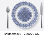 thin gold pattern for plates ... | Shutterstock .eps vector #730292137
