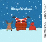 santa claus stuck in the... | Shutterstock .eps vector #730297867