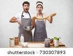 handsome bearded guy and cute... | Shutterstock . vector #730307893