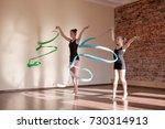 young ballerinas in motion.... | Shutterstock . vector #730314913