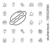 hotdog icon on the white... | Shutterstock .eps vector #730323583
