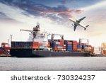 container cargo freight ship... | Shutterstock . vector #730324237
