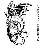 skull and dragon illustration  | Shutterstock .eps vector #730347637