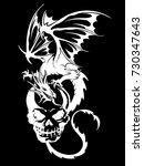 skull and dragon illustration  | Shutterstock .eps vector #730347643