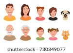 people facial emotions afraid... | Shutterstock .eps vector #730349077