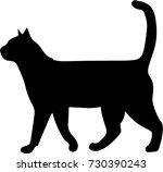 black silhouette of cat...   Shutterstock .eps vector #730390243