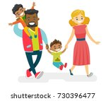 happy smiling multiracial... | Shutterstock .eps vector #730396477