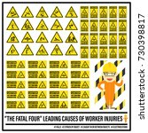 set of safety caution signs and ... | Shutterstock .eps vector #730398817