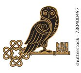 the celtic design. owl and key... | Shutterstock .eps vector #730400497