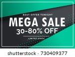 mega sale banner voucher card... | Shutterstock .eps vector #730409377