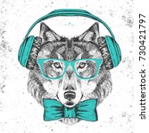 retro hipster animal wolf with... | Shutterstock .eps vector #730421797