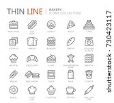 collection of bakery thin line... | Shutterstock .eps vector #730423117