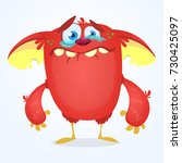 crying cute monster cartoon.... | Shutterstock .eps vector #730425097