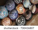 colorful souvenir plates on a... | Shutterstock . vector #730426807
