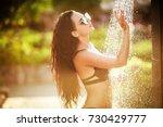 woman enjoying relax in spa... | Shutterstock . vector #730429777