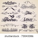 vector set  calligraphic design ... | Shutterstock .eps vector #73043386