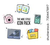 vector line icon pack in flat... | Shutterstock .eps vector #730447897