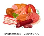 illustration with meat products.... | Shutterstock .eps vector #730459777