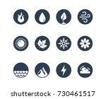 vector round icon set of fire ...