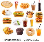 set of fast food products... | Shutterstock . vector #730473667