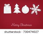christmas paper ornaments ... | Shutterstock . vector #730474027