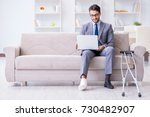 businessman with crutches and... | Shutterstock . vector #730482907