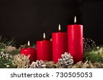 red advent candles with green... | Shutterstock . vector #730505053