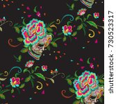 embroidery floral seamless... | Shutterstock .eps vector #730523317