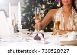 woman drinking champagne with... | Shutterstock . vector #730528927