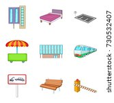 metropolis icons set. cartoon... | Shutterstock .eps vector #730532407