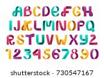 alphabet vector of paper... | Shutterstock .eps vector #730547167