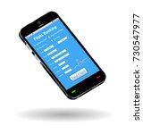 smartphone with online flight... | Shutterstock .eps vector #730547977