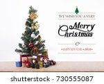 christmas tree with decorations ...   Shutterstock . vector #730555087