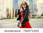 fashion outdoor portrait of... | Shutterstock . vector #730571353