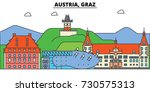 austria  graz. city skyline ... | Shutterstock .eps vector #730575313