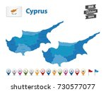 cyprus high detailed map with... | Shutterstock .eps vector #730577077