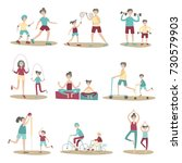 parents and children together... | Shutterstock . vector #730579903