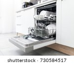 open dishwasher with clean... | Shutterstock . vector #730584517