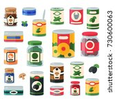 tins canned goods food... | Shutterstock .eps vector #730600063