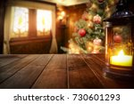 desk of free space and lamp... | Shutterstock . vector #730601293
