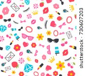 seamless pattern with stickers... | Shutterstock .eps vector #730607203