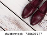 classic cherry leather shoes.... | Shutterstock . vector #730609177
