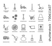 snow removal flat line icons.... | Shutterstock .eps vector #730611637