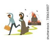 stateless refugee family...   Shutterstock .eps vector #730614007