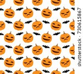 pumpkin and bat pattern. | Shutterstock .eps vector #730615867