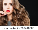 nice model woman with long wavy ... | Shutterstock . vector #730618003