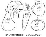 Fruits Coloring Cartoon