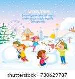 winter scene with kids making... | Shutterstock .eps vector #730629787