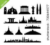 southeast asia cities landmark... | Shutterstock .eps vector #730644577